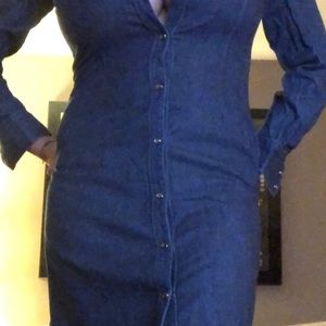 Denim below knee dress from The Limited